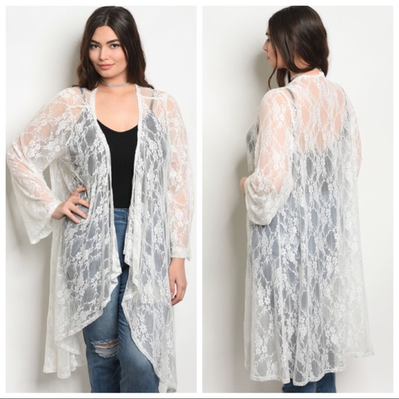 ff0df2c9d26a1 NEW PLUS size white lace kimono shawl cardigan